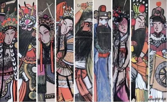 季平 传统京剧汇演 21cm×122cm×9 纸本设色
