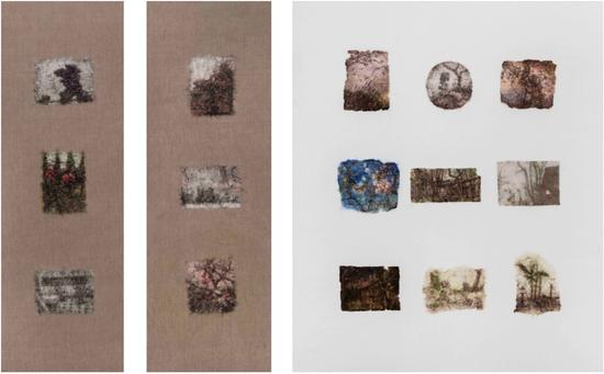 《景物·园林卷:1738》 三联 布面油画180x60/60/150 cm 2017年 肖芳凯