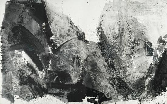the collector of Guggenheim Museum《律动:气韵山色》(展览现场)rhythm:verve of the moutain,584cmx366cm,collapse,2006