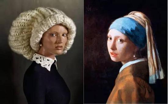埃文·奥拉夫(ERWIN OLAF)在2013年6月的《Vogue》杂志刊登的照片,灵感来源于杨·维梅尔画于1665年的名画《戴珍珠耳环的少女》
