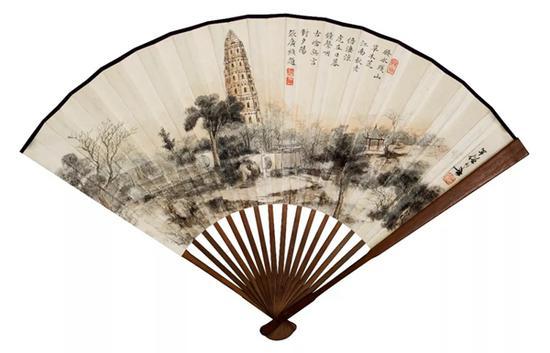 黄幻吾 雷峰塔   设色纸本 成扇   19×47cm