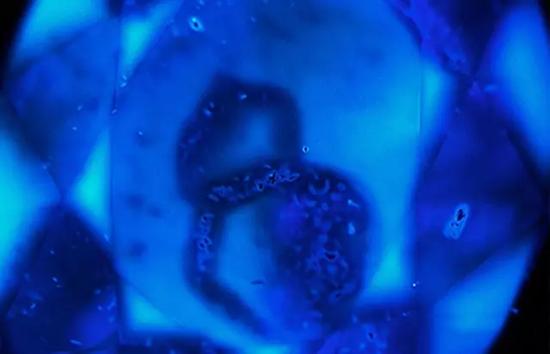 图4、在DiamondView下,在样品蓝色富集的区域不显示蓝色荧光,视野:8.58毫米