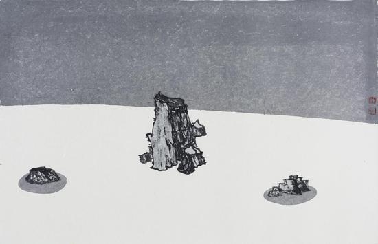 枯山水No.14 48X75cm 纸本设色 2016