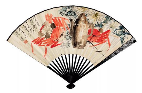 唐云 花卉   设色纸本 成扇   18×48cm