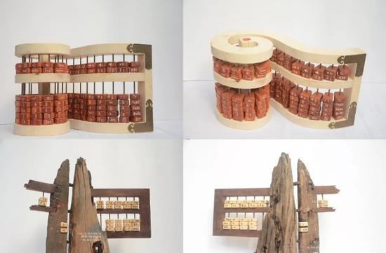 《流逝的年代系列》 陈浪华 材质:木、铜 尺寸:58cmx38cmx32cm