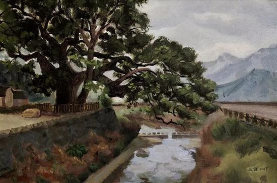 王健《五夫镇的千年古树》60x40cm2017年布面油画。webp