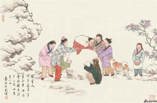 童戏图-堆雪人