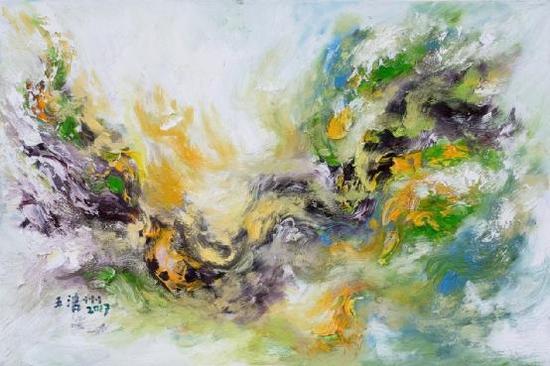 王清州 布面油画作品 2017《浮光掠影》80x120cm