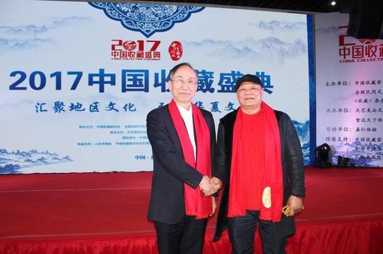 夏洪林大师与中国收藏家协会副会长、中国国家博物馆鉴定中心主任岳峰合影