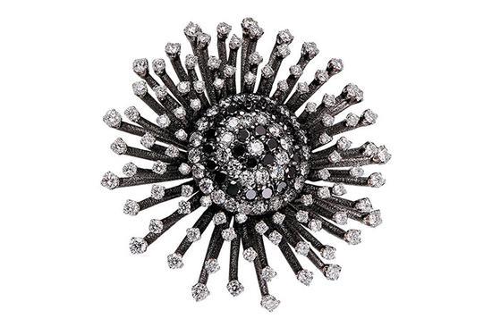 """是花朵还是焰火?珠宝设计师 Alex Soldier 以个性鲜明的爆炸款式诠释星状花卉。这款饰品采用 11.50 克拉黑色和无色钻石,镶嵌于 18K 黑色白金镶座之上。这款直径为 55 毫米的饰品被称作""""钻石之星""""(Diamond Astra),可作为胸针、吊坠、戒指或袖口装饰佩戴。"""