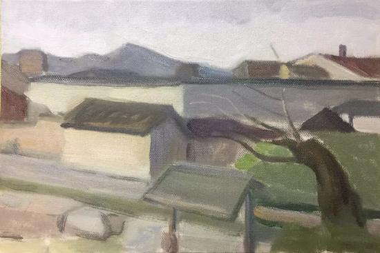 朱宝莲《有风掠过》20x30cm2017年布面油画。webp