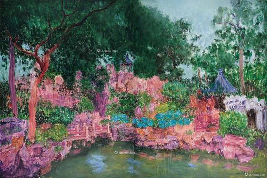 周春芽《豫园》布面 油画 272×204cm×2 2012年作 2017华艺拍卖中以862.5万元成交