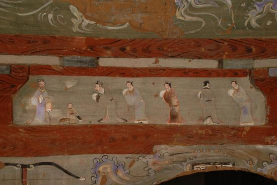 """榆林。靖边。照片。""""孔子拜师""""壁画大图"""