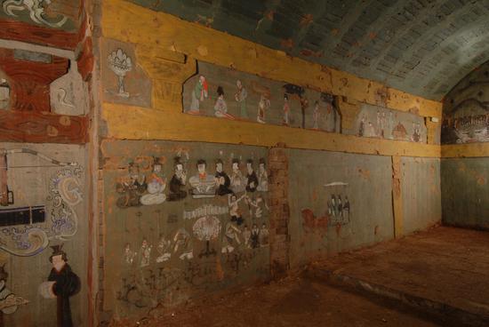 榆林。靖边。照片。墓室后室西壁画大图