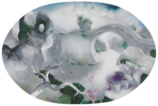罗发辉/ Luo Fahui|<墙内的玫瑰/Roses in the wall>|120x60cm|布面油画/Oil on Canvas|2017