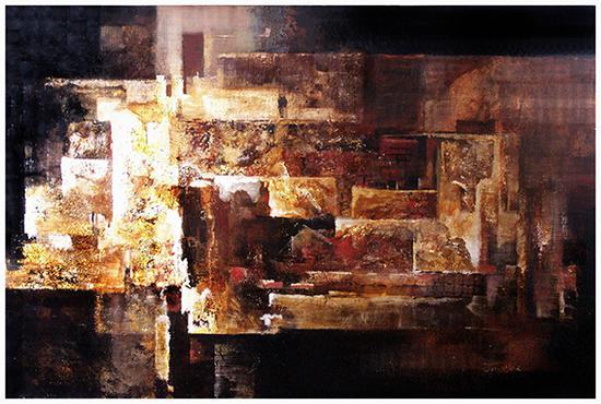 马俊营作品 《建构系列—争锋》120cm×75cm 2009年