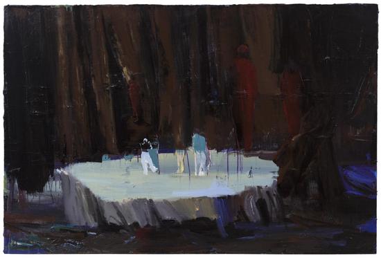 卢琳,《红色》,2017,布面丙烯,100×70cm