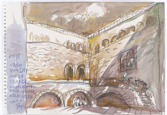 16 毕加索美术馆入口处的天井2010.11.7 38×26.5cm