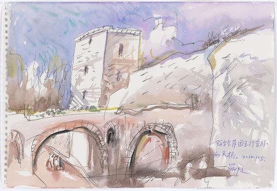 6 阿尔卡萨国王行宫外的天桥2010.11.5 38×26.5cm