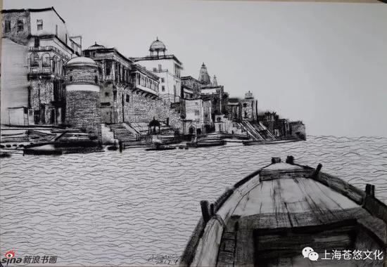 《神的河》纸质炭笔55x75cm