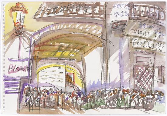 20 毕加索美术馆售票的大门2010.11.7 38×26.5cm