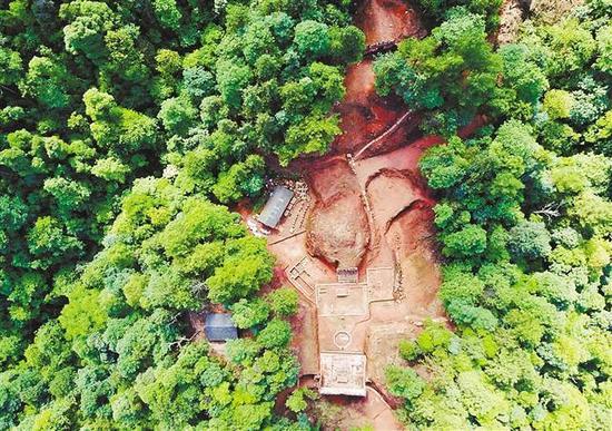江津朝源观遗址俯拍照。