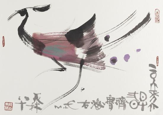 名称:凤;材质:宣纸水墨;年代:2016年;尺寸:55x76cm