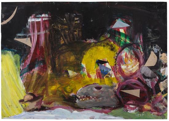 施海兵,《不可以再黄了》,2017,纸上丙烯,60×84cm