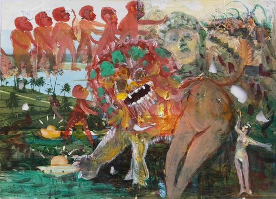 施海兵,《毛利润人或许是小猴子敢于说不》,2017,现成杂志、丙烯,37×51cm