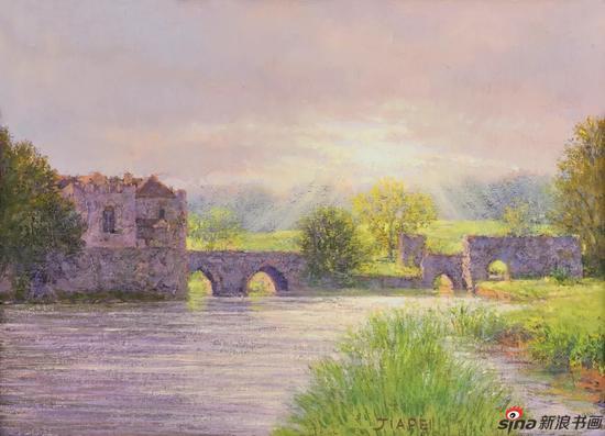 利兹城堡-英国 24×33cm 布面油画