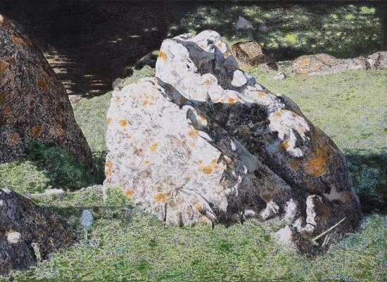 杨鹏《居然磐石》80×160cm 2016年