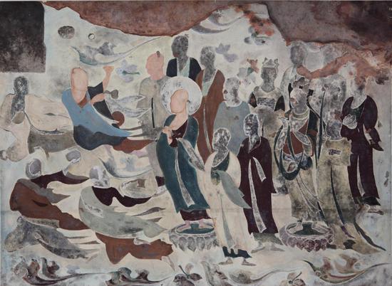 平棋藻井《诸天赴会》,麦积山第4窟,101 X 191厘米,北周,王毓琪临摹