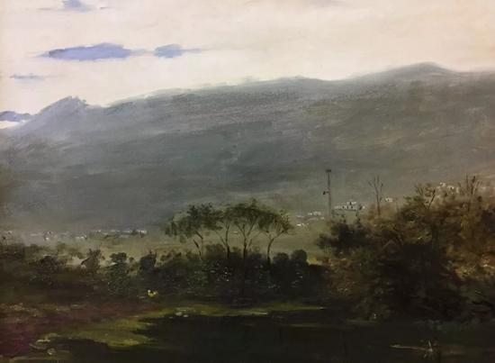 史祥《五夫镇》50x60cm2017年布面油画。webp