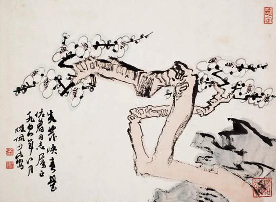 陆俨少 梅石   设色纸本 镜片   34×46.5cm   注:上款人王佐群,原上海市委副秘书长。