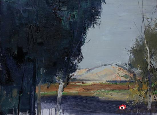 周建捷《红土坡》油画