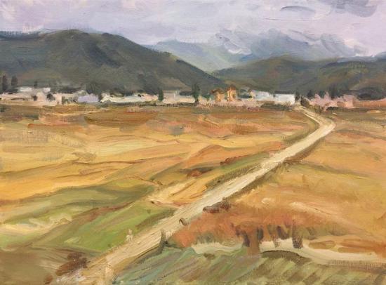 徐麟棋《午后山雾下的麦田》30x40cm2017年布面油画。webp