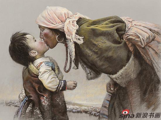 朱富平《母与子》粉画