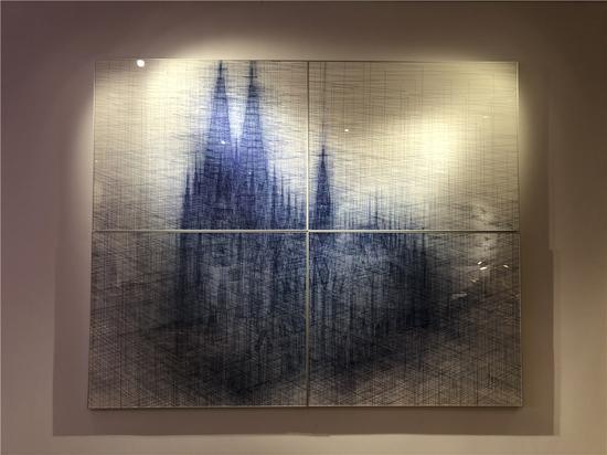 仰的边界,纸本水墨 + 数码输出 302x244cm 2017