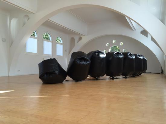 王恩来《Bonn浪潮》尺寸可变  塑料袋、排风扇、控制器等 2015年