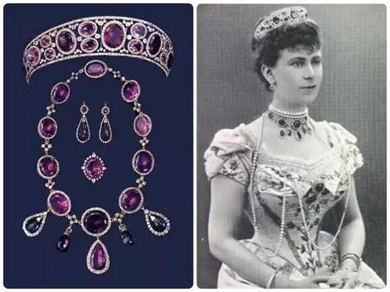 英国国王乔治五世之妻玛丽王后的紫水晶首饰套装