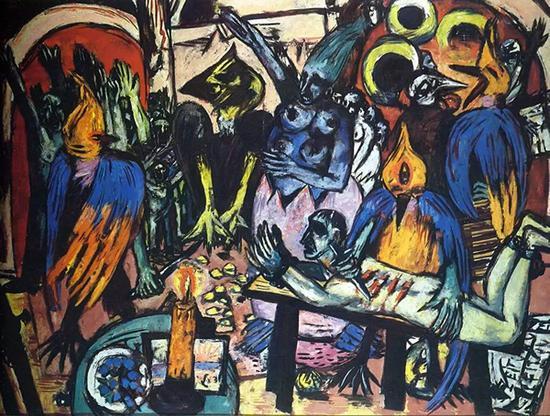 《鸟的地狱》(Bird Hell),Max Beckmann,布面油画,1937-1938年