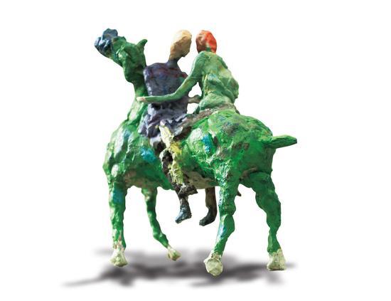 《双人与马 4#》雕塑 玻璃钢 30X30X16CM 王清丽 2017年