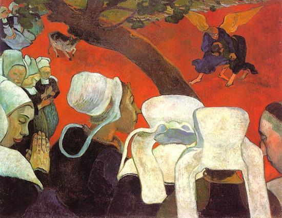 保罗·高更-《雅各与天使摔跤》,布面油画,73cm×92cm,1888年,爱丁堡苏格兰国立画廊