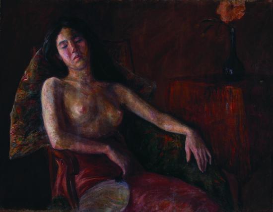 《半裸女像》  李叔同  布面油彩 90x116.5cm 约1909年 中央美术学院美术馆藏