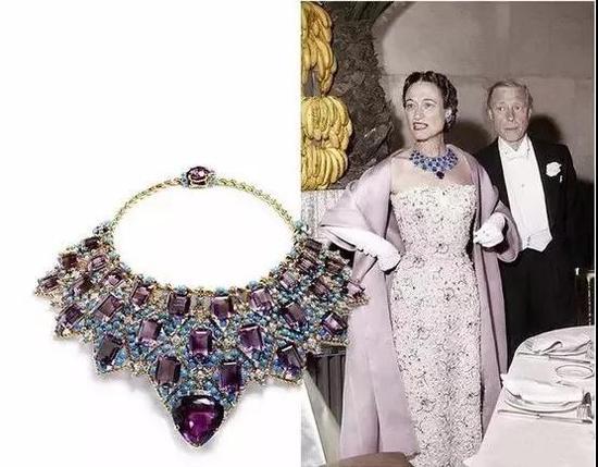 英王爱德华八世送给其妻温莎公爵夫人的紫水晶项链,1947年,Cartier