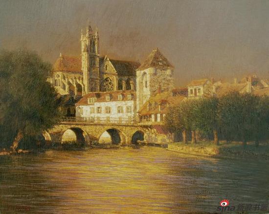 阳光映小镇(法国·莫雷) 40x50cm 布面油画