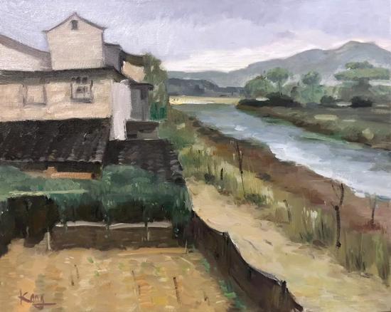 康子正《五夫人家》40x50cm2017年布面油画。webp