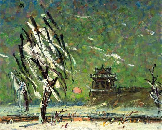 京华遗韵系列 旧岁风雪之2 、2012年、麻布油画80.3X100.8-2
