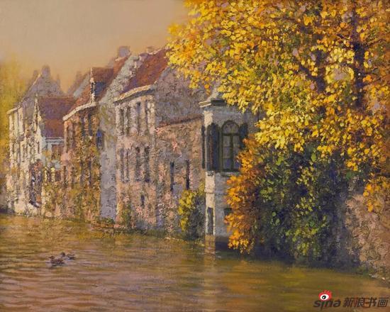 布鲁日之秋 24×30cm 布面油画