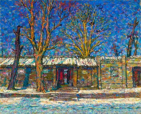 京华遗韵系列---正月 1989--1990年80.3X100.8cm 麻布油画